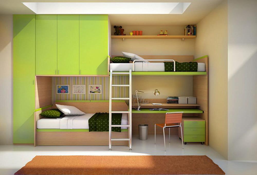 غرف نوم أطفال بتصاميم عملية للمساحات الصغيرة 1386070