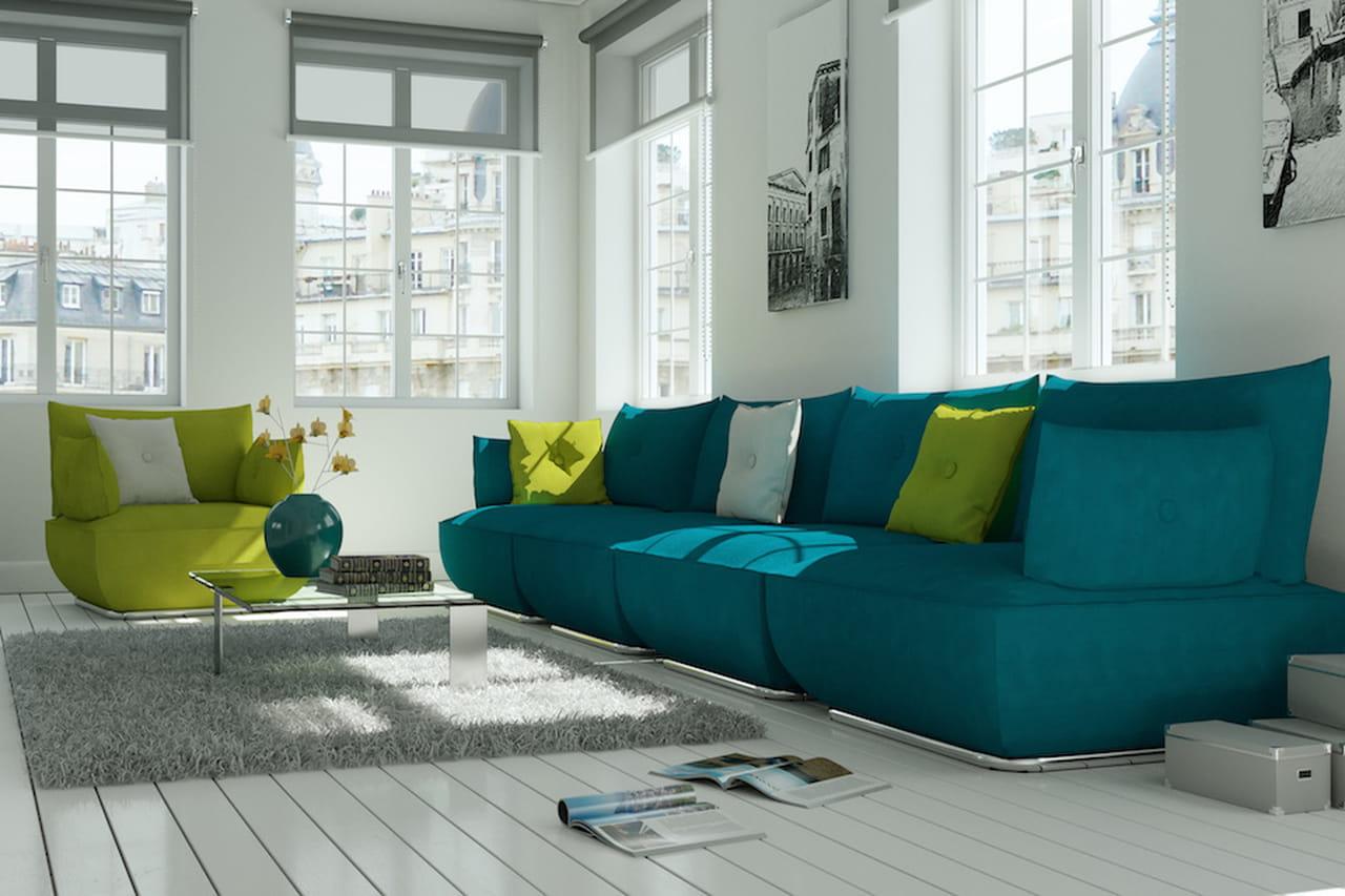 Colori freddi verde e blu per case extra chic - Divano grigio abbinamenti ...