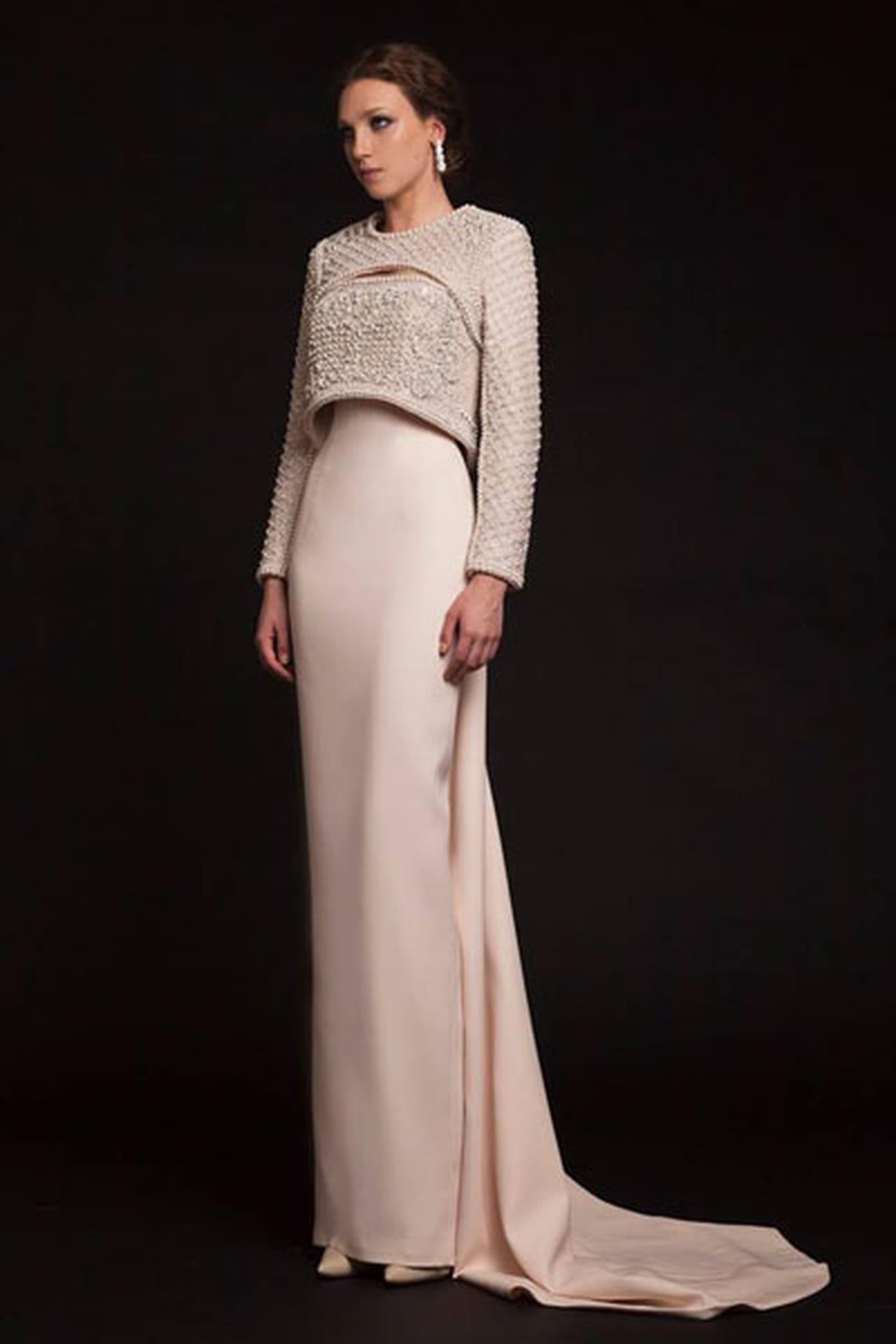 805a5356be39a فساتين سهرة بأكمام 2015 من توقيع مصممين أزياء عرب