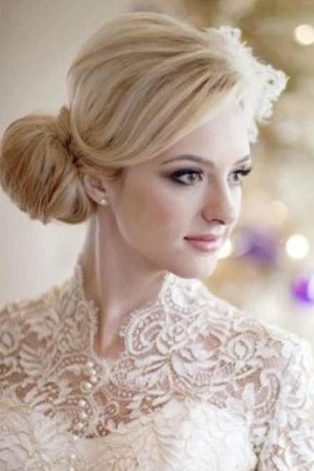 Свадебные прически для средних волос для круглого лица