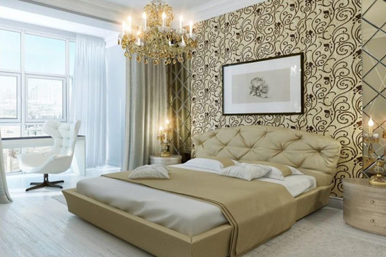 غرف نوم فخمة باللون البيج
