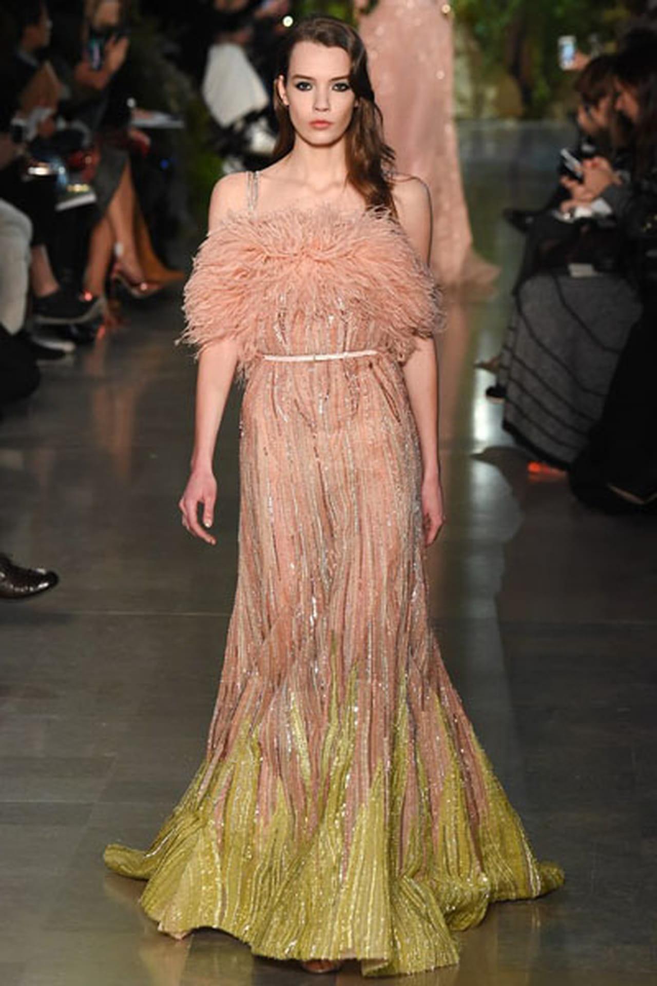 7f254815d فستان أنيق مطرز بخيوط فضية، والريش حول الصدر من توقيع إيلي صعب Elie Saab