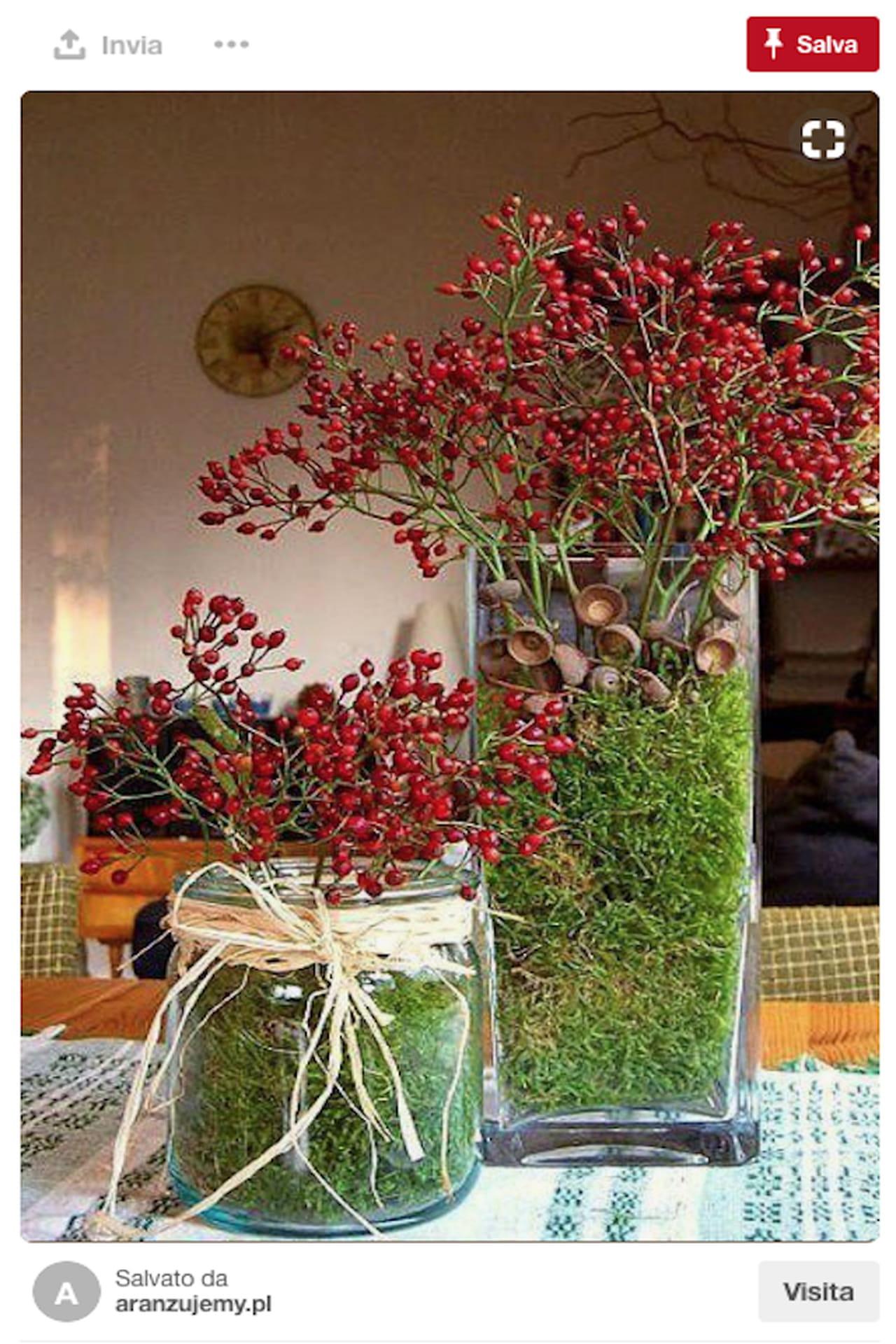 Centrotavola natalizio idee da pinterest con bacche for Centrotavola design moderno
