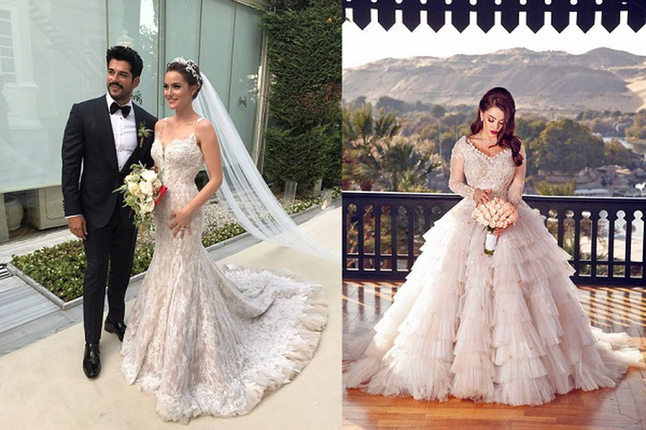 b915bdf49ecb8 بالصور  أجمل فساتين زفاف المشاهير 2017