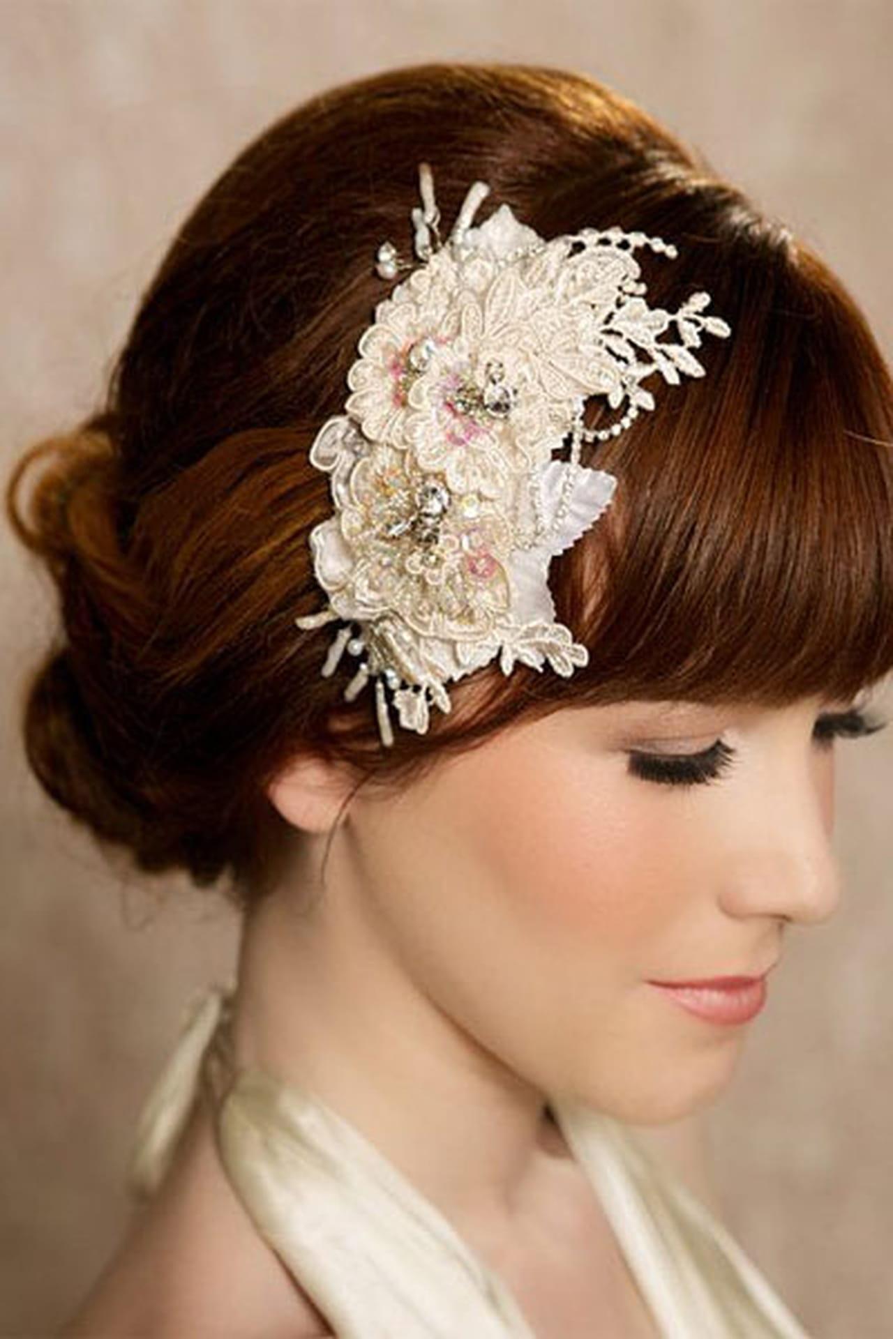 Фото свадебной причёски для волос до плеч