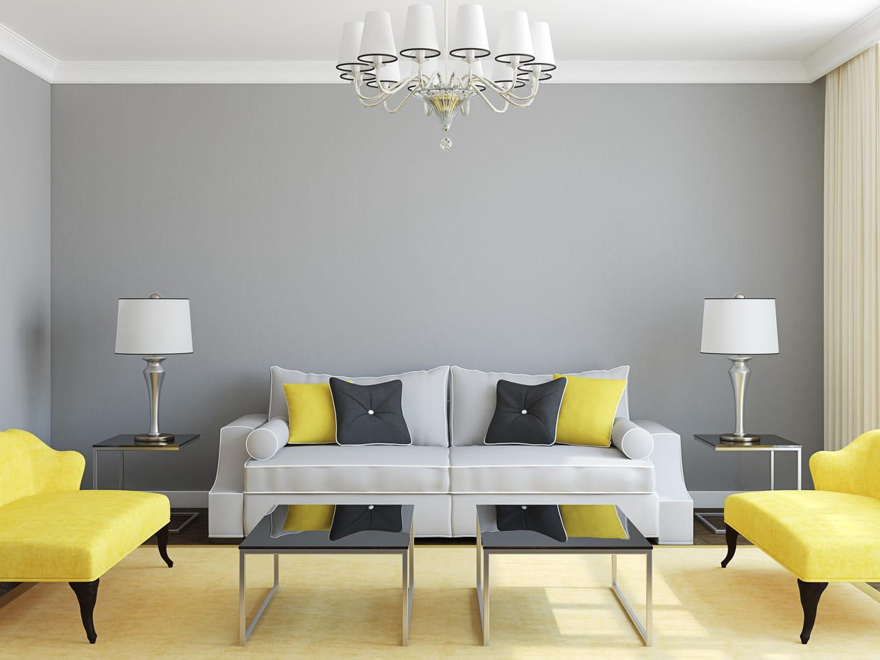 Sala Pequena Cinza E Amarelo Ambiente Todo Cinza Com Quadro Grande  -> Decoracao De Sala Pequena Vermelha E Amarela