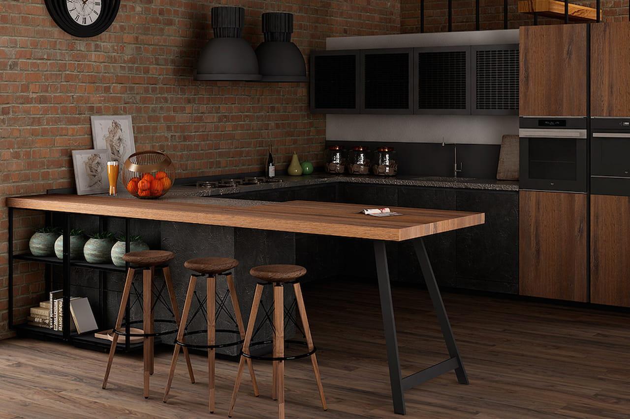 Super Cucine Stile Anni 50. Cucina Industriale Penisola In Legno With  IZ23