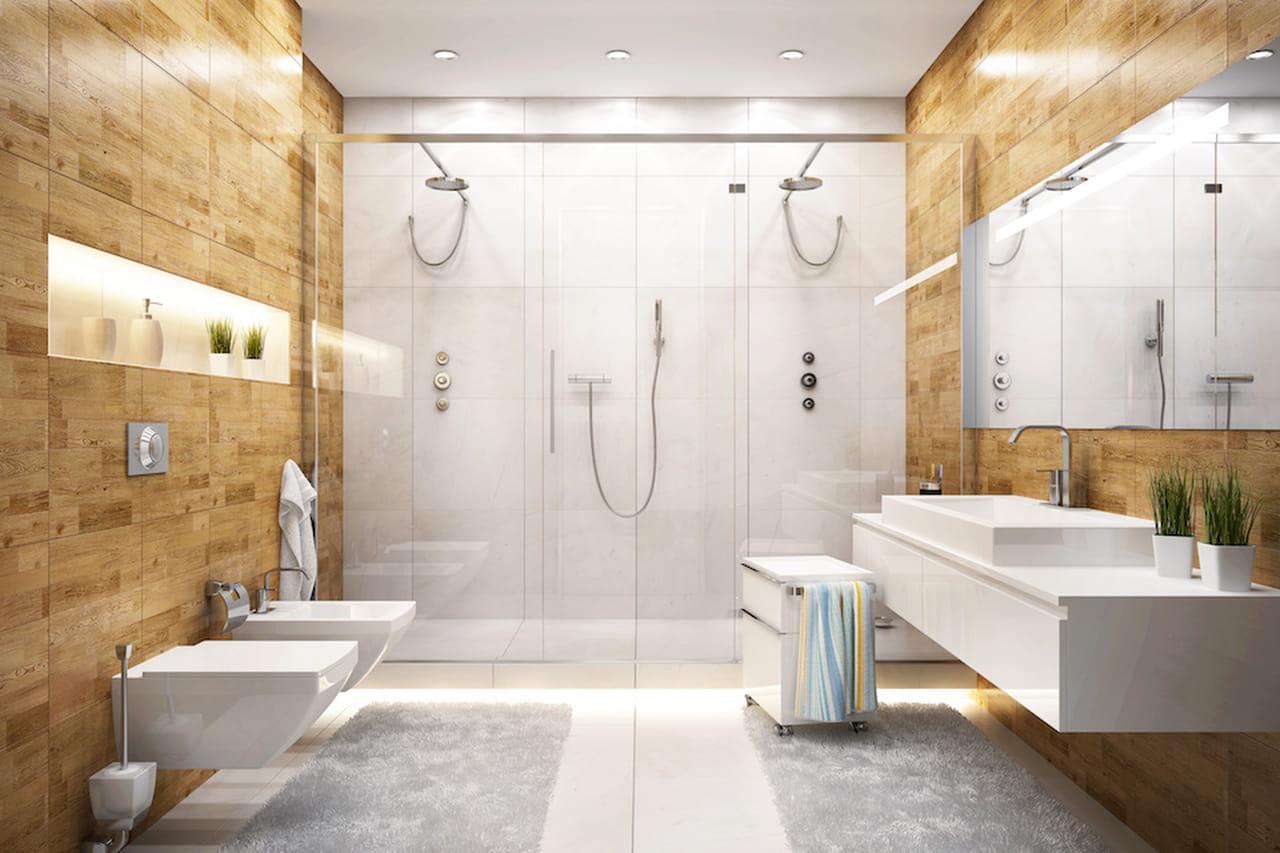 Bagno moderno con doccia affordable bagno moderno lungo e stretto con la doccia a filo - Impermeabilizzazione piastrelle doccia ...