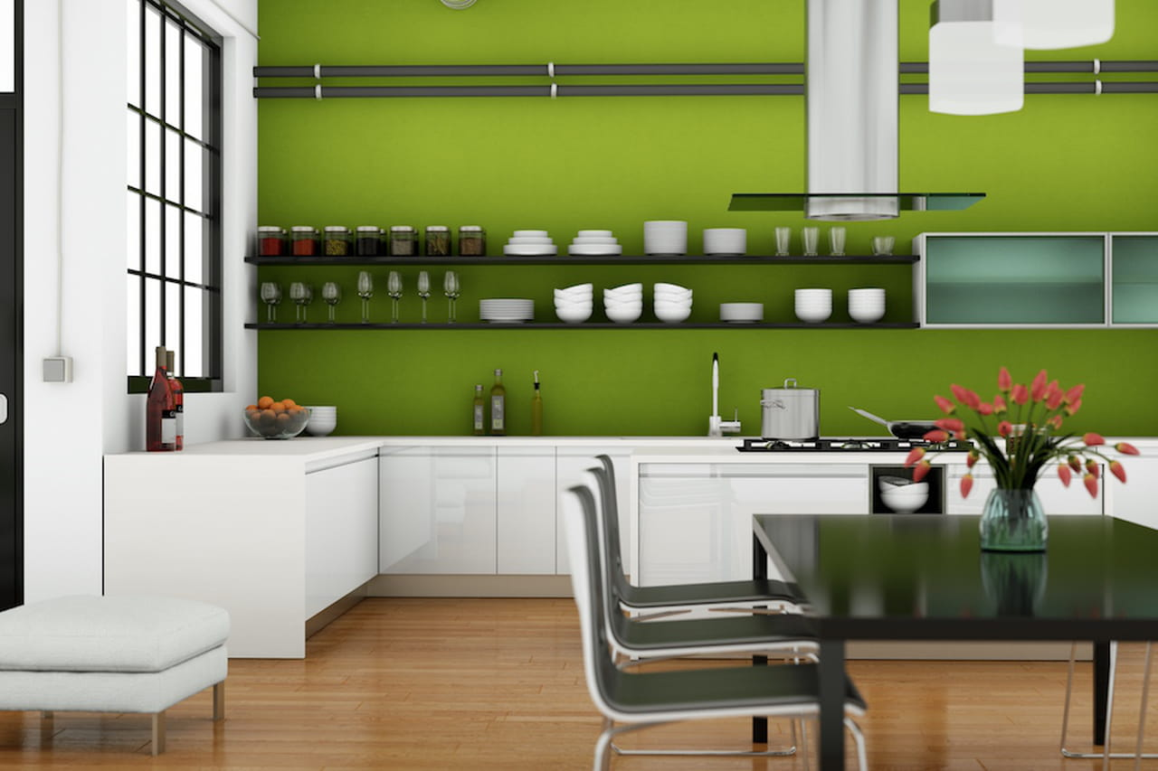 Simple excellent colori pareti il verde in cucina with for Case pitturate moderne