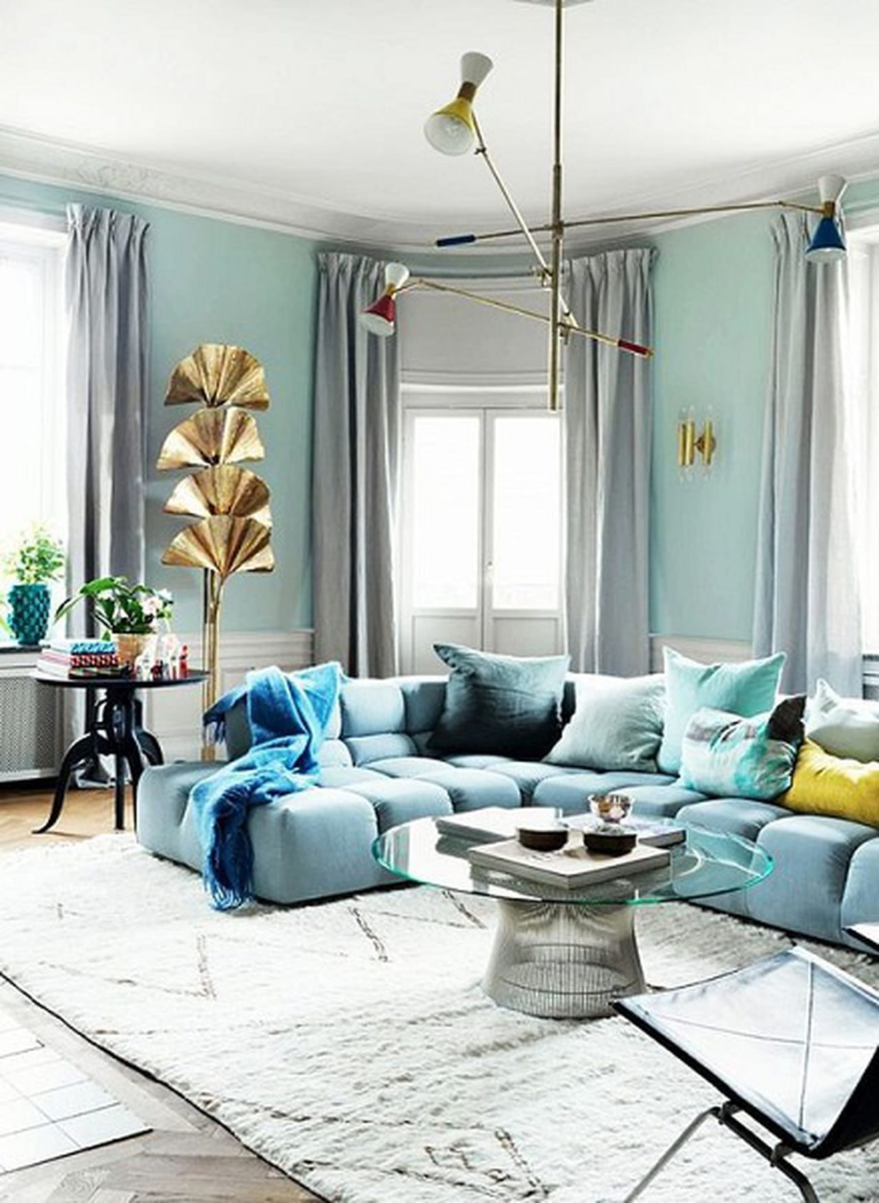 Teal And Yellow Baby Room