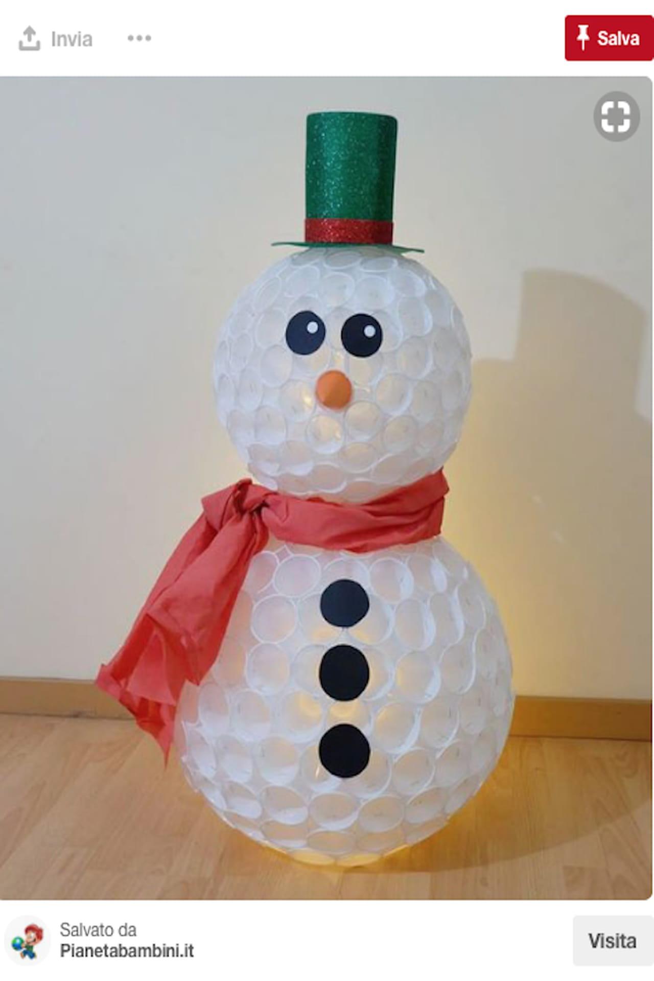 Favorito Pupazzo di neve con bicchieri di plastica: come si fa TV61