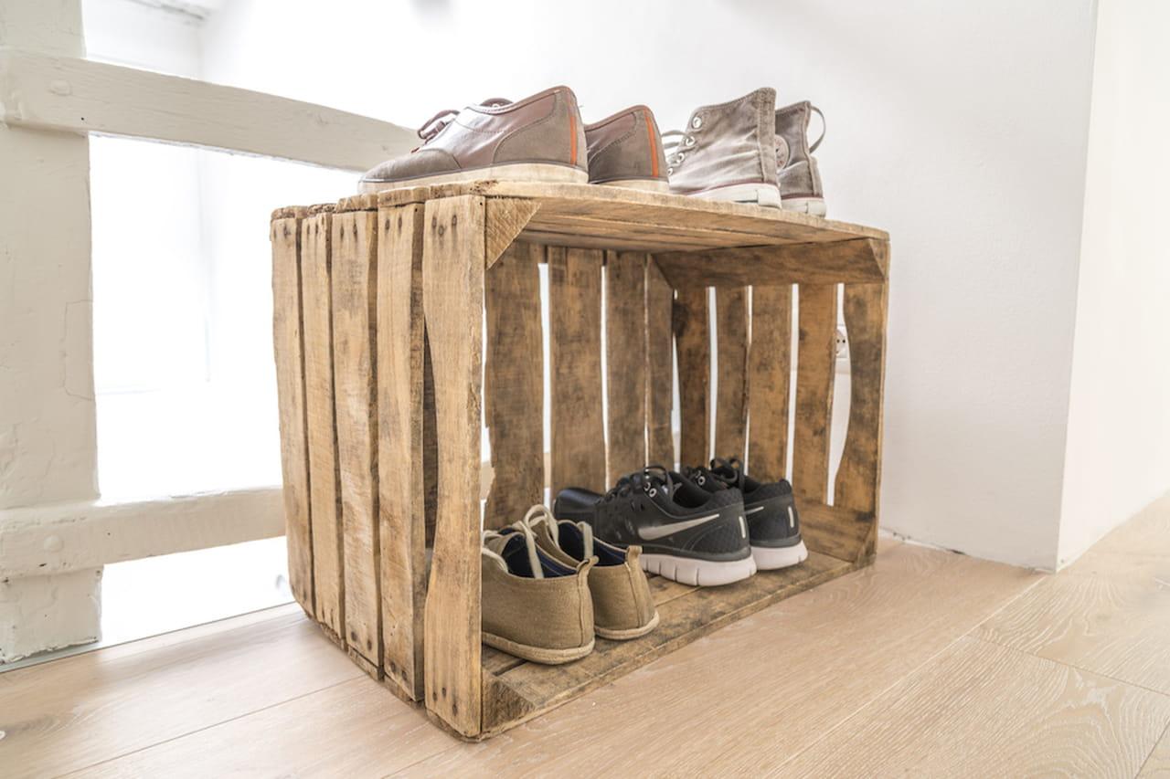 scarpiera fai da te creativa vintage industrial o green. Black Bedroom Furniture Sets. Home Design Ideas