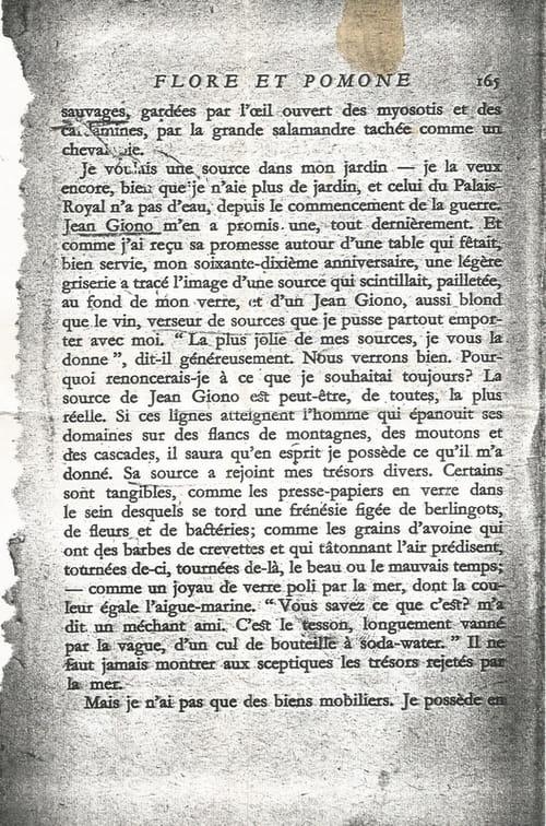 Colette évoque Giono : les trésors rejetés par la mer.