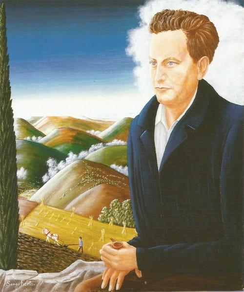 Fiorio en son magistral portrait de Giono à l'étoile et à la colombe.